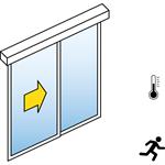 automatische schiebetür (energieeffizienz) - 1-flüglig - mit seitenteil - sturzmontage - sl/pst