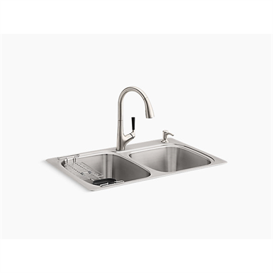 """KOHLER® All-In-One Kit 33"""" x 22"""" x 9-1/4"""" All-In-One Kit top-/under-mount kitchen sink"""