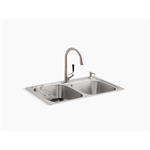 "kohler® all-in-one kit 33"" x 22"" x 9-1/4"" all-in-one kit top-/under-mount kitchen sink"