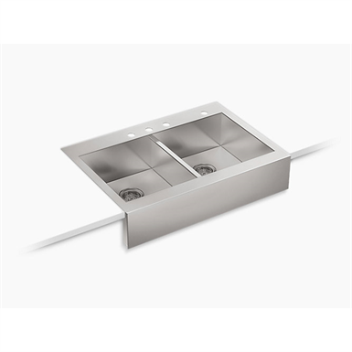 """vault™ 35-3/4"""" x 24-5/16"""" x 9-5/16"""" self-trimming® top-mount double-equal stainless steel apron-front kitchen sink for 36"""" cabinet"""