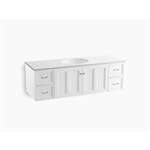 """damask® 60"""" wall-hung bathroom vanity cabinet with 2 doors and 4 drawers"""