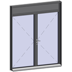 door window opening inside leaf with lock with transom