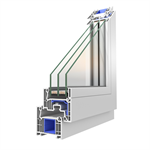 OKNOPLAST window PIXEL, double balcony window with a low threshold Win Step - fixed mullion
