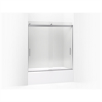 """levity® sliding bath door, 62"""" h x 56-5/8 - 59-5/8"""" w, with 3/8"""" thick crystal clear glass"""