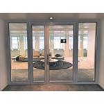porte vitrée coupe-feu aluminium - 2 vantaux avec latéral manchonné