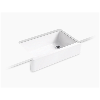 """whitehaven® self-trimming® 35-11/16"""" x 21-9/16"""" x 9-5/8"""" under-mount single-bowl kitchen sink with tall apron"""