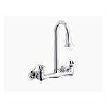 triton® double cross handle utility sink faucet with rosespray gooseneck spout