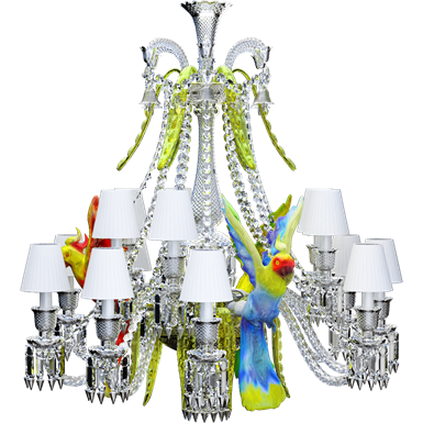 zenith sur la lagune chandelier with parrots 15l