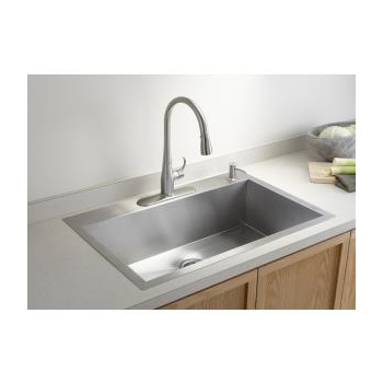k-3821-4 vault™ large single kitchen sink with four-hole faucet drilling