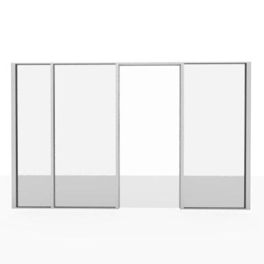 Aluminum partition -  glazed door unit