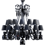 zenith chandelier 24l black crystal
