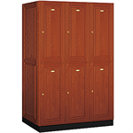 12000 Series Solid Oak Executive Wood Lockers Double Tier 3 Wide