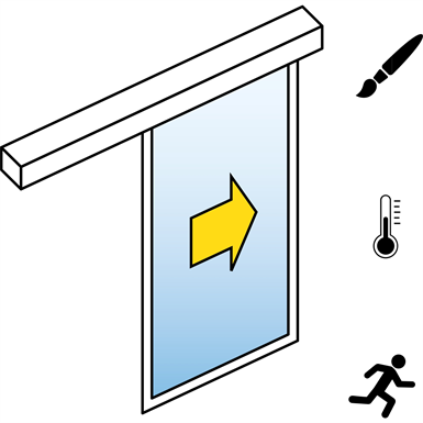 automatic sliding door  (energy-efficiency) - single - no side panels - on wall - sl/pst