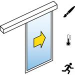 automatische schiebetür (energieeffizienz) - 1-flüglig - ohne seitenteil - sl/pst