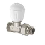 Full thermostatizable straight valve for copper pipe, multi-layer, PEX, PP, PB