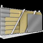 doppelte aussenfassade aus stahl verlegung v vollständige platten, abstandhalter verbunden mit dämmung