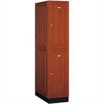 12000 Series Solid Oak Executive Wood Lockers Double Tier 1 Wide