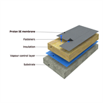 Protan mechanically fastened warm roof system on concrete substrate