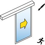 automatic sliding door (standard) - single - no side panels - on wall sl/psxp