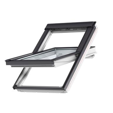 fenêtre de toit à rotation, finition blanche (structure bois + polyuréthane injecté) (ggu)