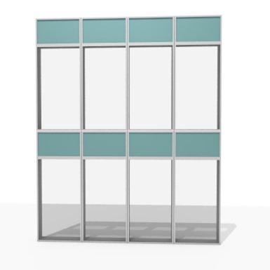 façade aluminium simple peau cadre - 76% à 100% transparent