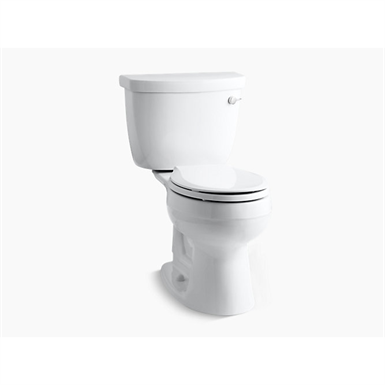 cimarron® comfort height® two-piece round-front 1.28 gpf toilet with aquapiston® flush technology, right-hand trip lever and insuliner® tank liner, seat not included