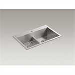 """vault™ 33"""" x 22"""" x 9-5/16"""" smart divide®top-/under-mount double-equal bowl kitchen sink with single faucet hole"""