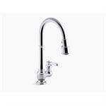 "artifacts® single-hole kitchen sink faucet with 17-5/8"" pull-down spout, docknetik® magnetic docking system, and 3-function sprayhead featuring sweep® and berrysoft® spray"