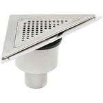 Bottom Outlet Corner Shower Drain with Triangular Top - BST-600