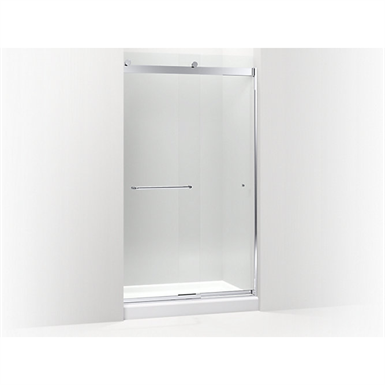 """k-706169 levity™ sliding shower door, 82"""" h x 44-5/8 - 47-5/8"""" w, with 5/16"""" thick crystal clear glass and towel bars"""