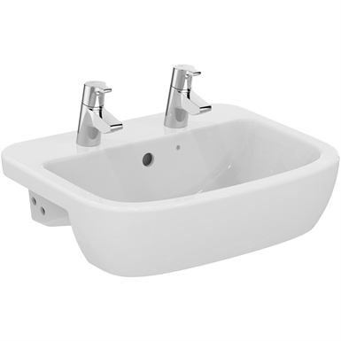 p_tempo 55cm semi-countertop washbasin, 2 tapholes