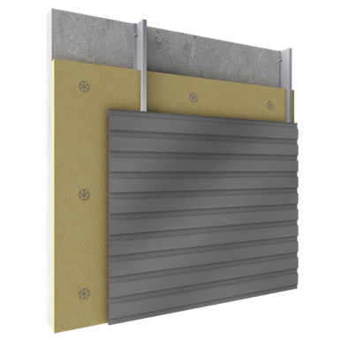 steel built up cladding horizontal position with insulation