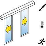automatische schuifdeur (energie-efficiency) - dubbele schuifdeuren - geen zijpanelen - aan de muur - sl / pst