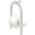 Vital wall-mounted steel grab bar with space for toilet paper