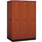 11000 Series Solid Oak Executive Wood Lockers Single Tier 3 Wide