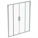 connect 2 slider door 160 clear glass bright silver finish