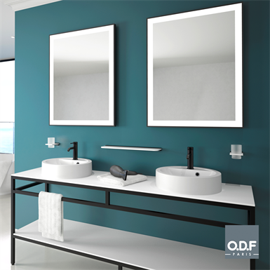mirror with frame and rectangular led light band and defogger 70 x 90cm