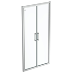 connect 2 saloon door 100 clear glass bright silver finish
