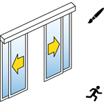 automatic sliding door (slim frame) - bi-parting - with side panels - in wall - sl/psa