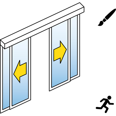 Automatic Sliding Door (Standard) - Bi-parting - With side panels - On wall - SL/PSXP
