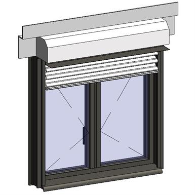window opening inside with external venetian blinds