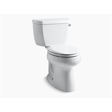 highline® classic 1.0 gpf comfort height® two-piece elongated toilet with class five® flush technology, right-hand trip lever and tank cover locks, seat not included