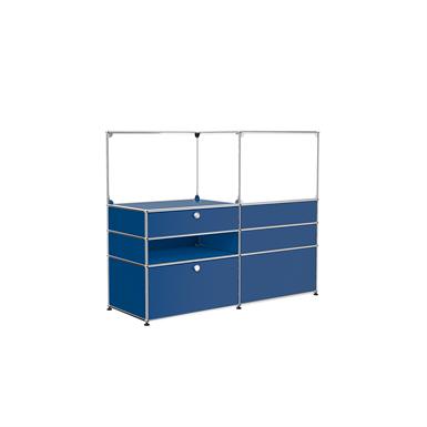 Raumteiler mit Schutzaufsatz aus Glas, von beiden Seiten begehbar, modular