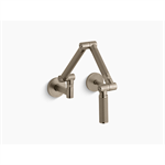 """karbon® articulating two-hole wall-mount kitchen sink faucet with 13-1/4"""" spout with bronze tube"""