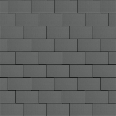 flat-lock tile facade (600 mm x 1500 mm, horizontal, prepatina graphite-grey)