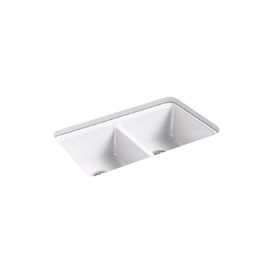"""riverby® 33"""" x 22"""" x 9-5/8"""" under-mount double-equal kitchen sink with accessories and 5 oversized faucet holes"""