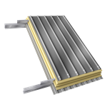 steel double skin roofing parallel to inside perfo profile with purlin