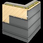 angled standing seam facade (430 mm, horizontal, prepatina graphite-grey)
