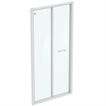 connect 2 bifold 100cm , door without handle,  white frame and clear glass