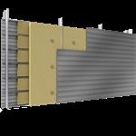 doppelte aussenfassade aus stahl verlegung h, vollständige platten, abstandhalter, mit 2 dämmflächen